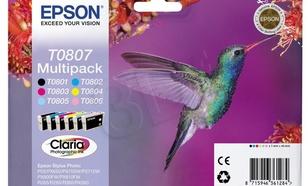 EPSON Tusz T0807=C13T08074011, Zestaw CMYK+lightC+lightM, T0801+T0802+T0803+T0804+T0805+T0806