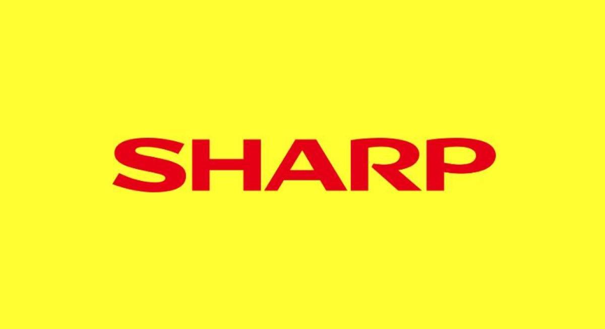 Logo firmy sharp na żółtym tle