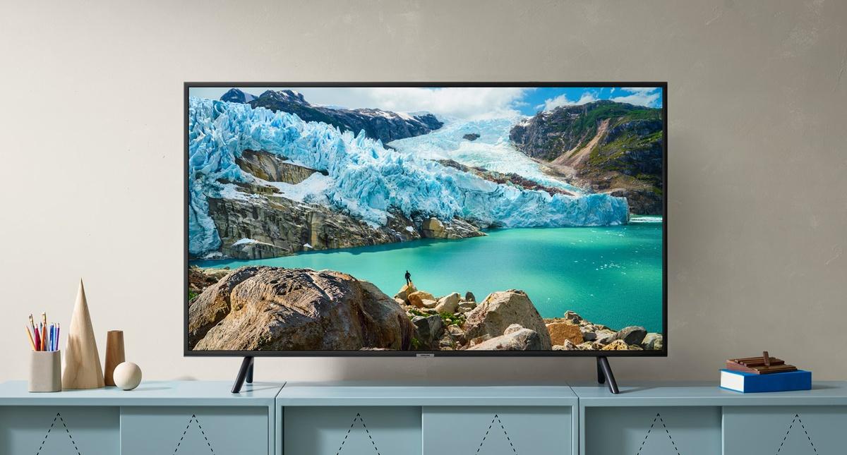Grafika przedstawiająca telewizor Samsung w ofercie Media Expert.