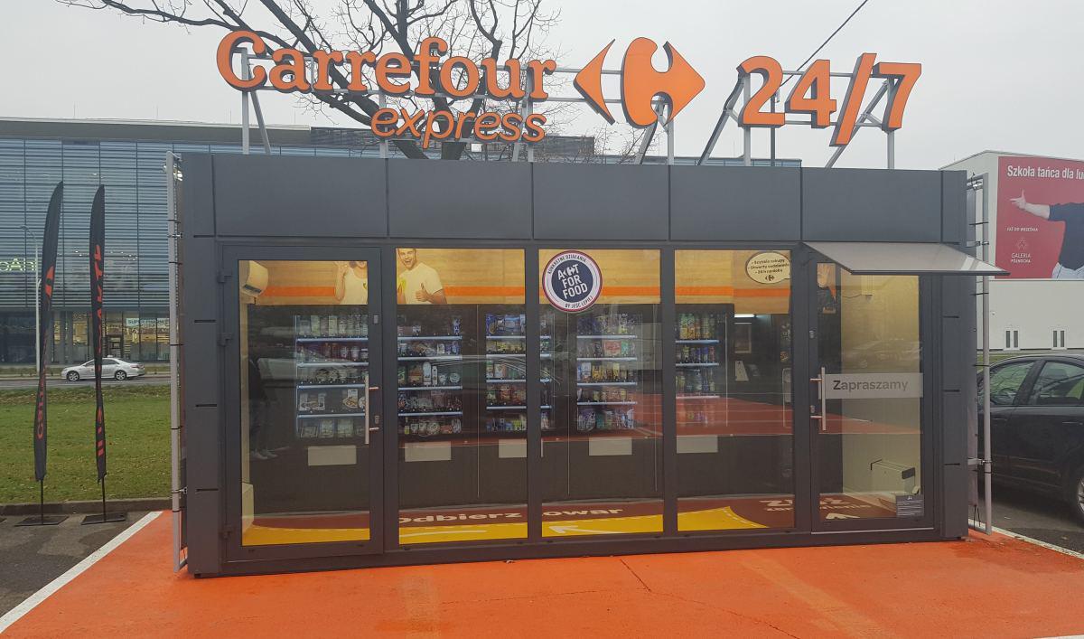 Sklep bezobsługowy Carrefour to kilka automatów i system je obsługujący