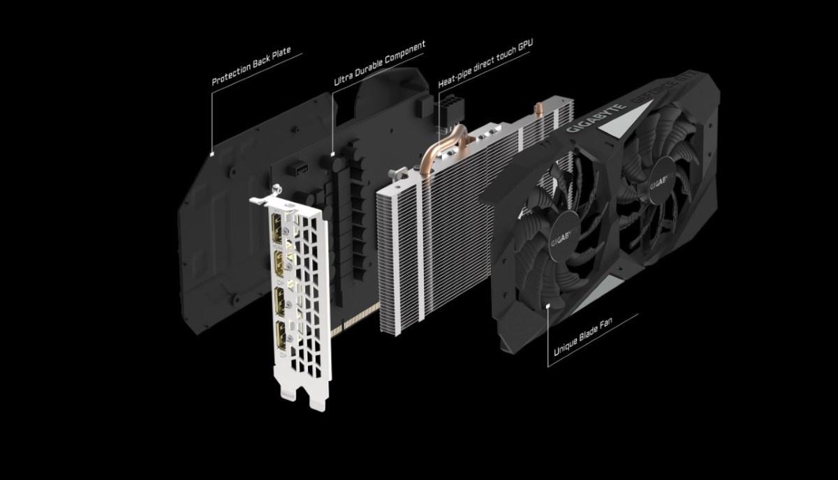 Rozłożony na części Gigabyte GeForce GTX 1660