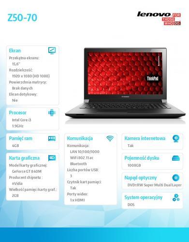 "Lenovo Z50-70 59-440311 DOS i3-4030U/4GB/1TB+8SSHD/nVidia GF GT 840M 2G/15.6"" Black"