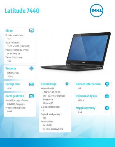 "Dell Latitude E7440 W78.1P (lic 64-bit Win8, nosnik) i5-4310U/256SSD/8GB/HD4400/4cell/14"" FHD Touch/3Y NBD/Backlit"