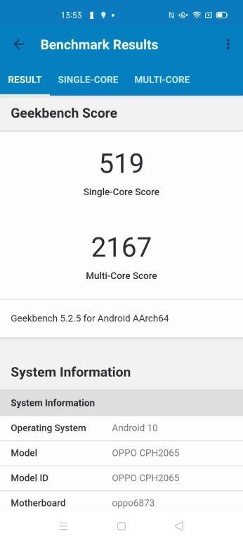 Wynik Oppo Reno4 Z w Geekbench 5