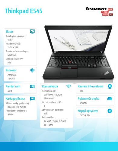 "Lenovo Thinkpad E545 20B20015PB DOS A8-4500M/4GB/GB/AMD Radeon HD Integrated/DVD Rambo/6c/15.6"" HD AG,Midnight Black,N-WWAN/1Yr CI"