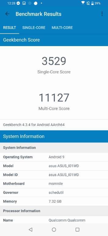 Rezultat Asusa Zenfone 6 w Geekbenchu