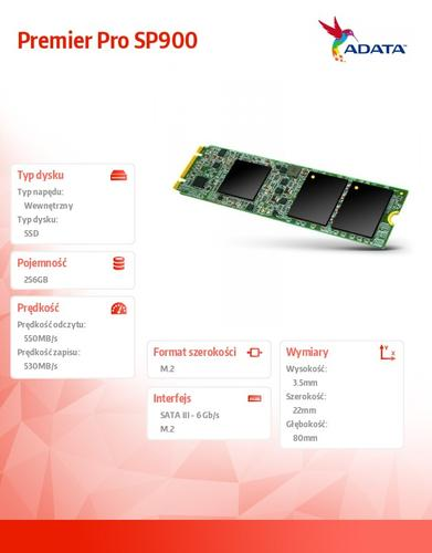 A-Data SSD Premier Pro SP900M.2 2280 256GB SATA3 8cm