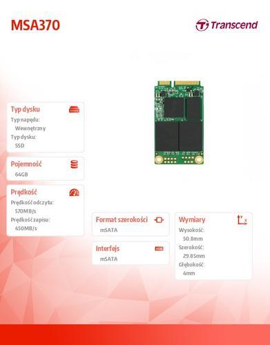 Transcend SSD 370 64GB SATA3 mSATA 570/450 MB/s
