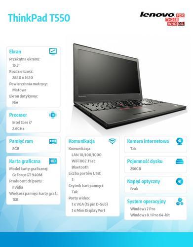 "Lenovo ThinkPad T550 20CK0000PB Win7Pro & Win8.1Pro 64-bit i7-5600U/8GB/SSD 256GB/GT940M 1GB/3c+3c/15.5"" 3K IPS AG,WWAN Ready,Black/LTE/3 Yrs OS"