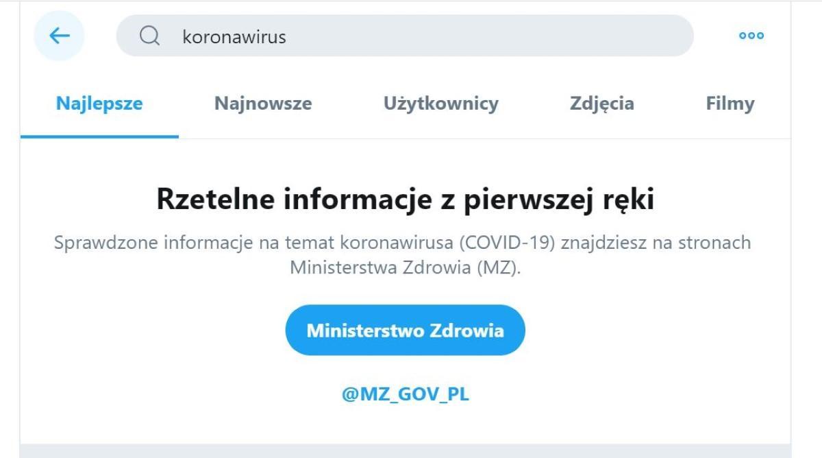 Informacja o koronawirusie na twitterze
