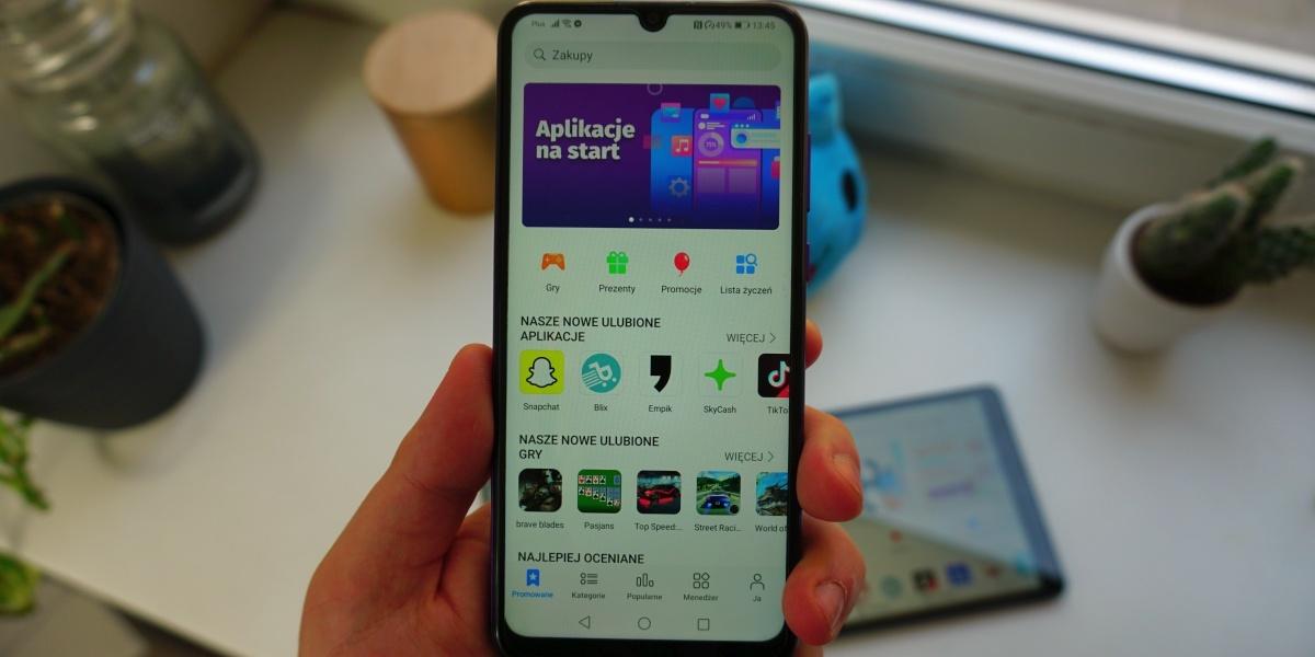Główny ekran Huawei AppGallery oferuje szybki dostęp do kilku sekcji