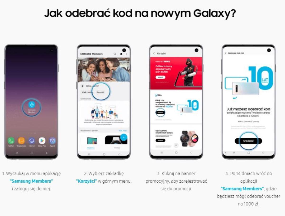 Odbieranie kodu na Samsung Galaxy S10
