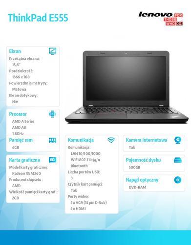 "Lenovo ThinkPad E555 20DH0008PB Win8.1 64-bit A8-7100/4GB/500GB/AMD Radeon R5 M240 2GB/DVD Rambo/6c/15.6"" HD AG, Graphite Black/N-WWAN/1 Yr CI"