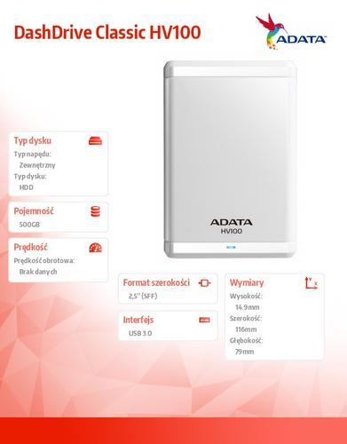 A-Data DashDrive Classic HV100 500GB 2.5'' USB3.0 White