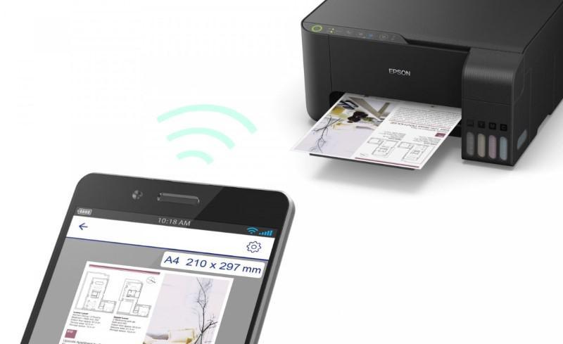 Epson L3150 łączący się ze smartfonem