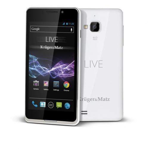 Kruger & Matz Smartfon LIVE BIAŁY DUAL SIM CORTEX A5 , ANDROID 4.1 JELLY BEAN EKRAN IPS