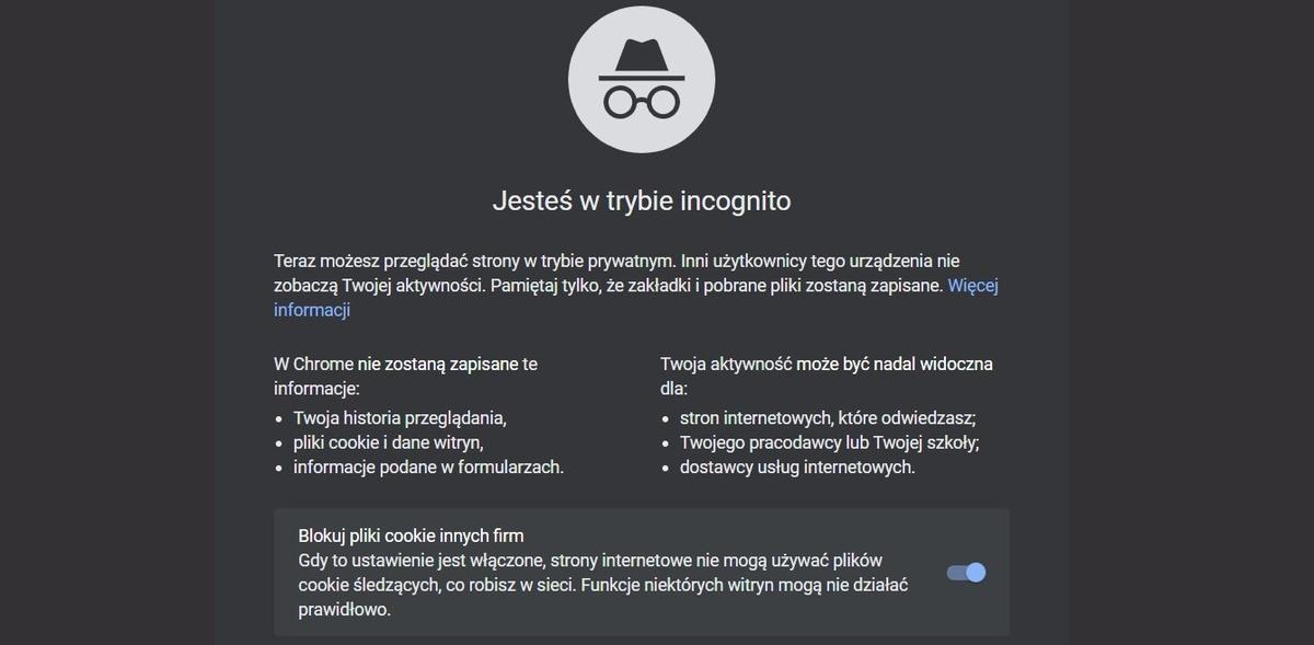 Tryb Incognito od Google pozwala wyłączyć gromadzenie plików cookie