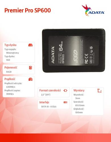 A-Data SSD Premier SP600 64GB 2.5'' SATA3 JMF661 345/70 MB/s