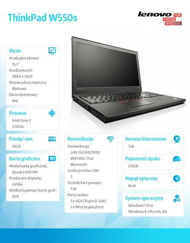 "Lenovo ThinkPad W550s 20E1000BPB Win7Pro & Win8.1Pro i7-5600U/16GB/SSD 512GB/K620M 2GB/N-Optical/3c+6c/15.5"" 3K IPS AG,WWAN Ready,Black/3 Yrs OS"