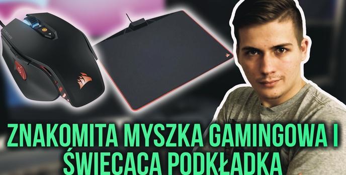 🖱 Znakomita Myszka Gamingowa i Świecąca Podkładka🌈Corsair M65 PRO i MM800