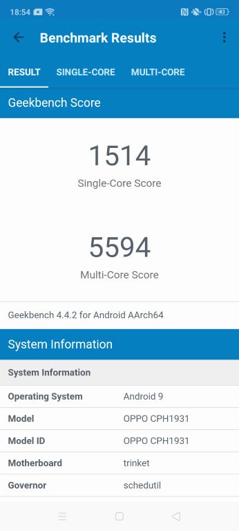Geekbench 4 - wynik Oppo A5 2020