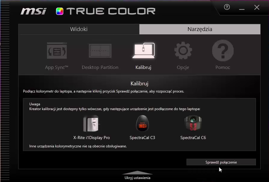 MSI True Color - obsługiwane kolorymetry