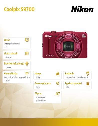 Nikon Coolpix S9700 red 16MPx, 30xOZ, 1080p