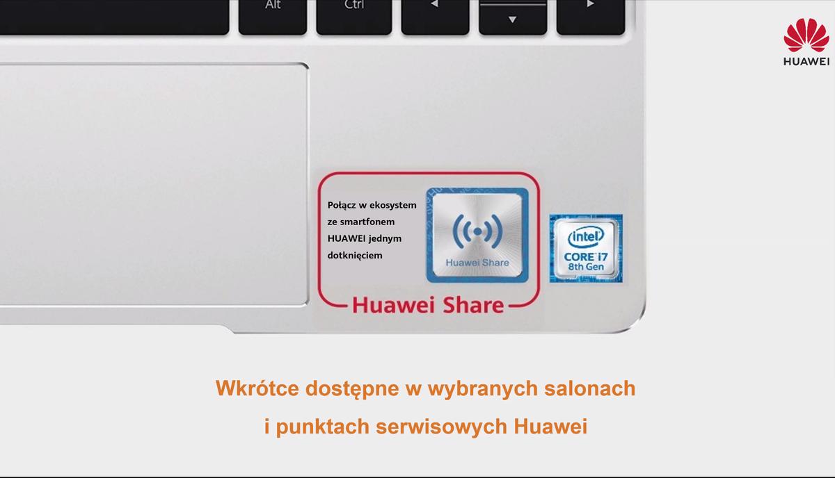 Grafika przedstawia naklejkę aktualizującą do starych laptopów Huawei