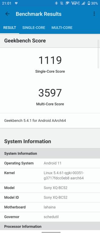 Sony Xperia 1 III Geekbench 5