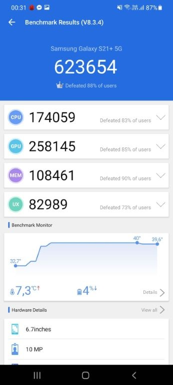 Wynik Samsunga Galaxy S21+ w Antutu Benchmark