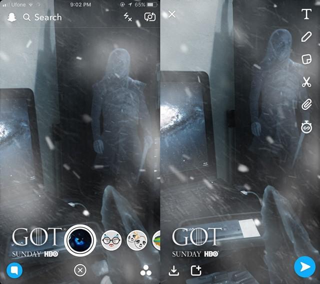 Snap filtr gra o tron