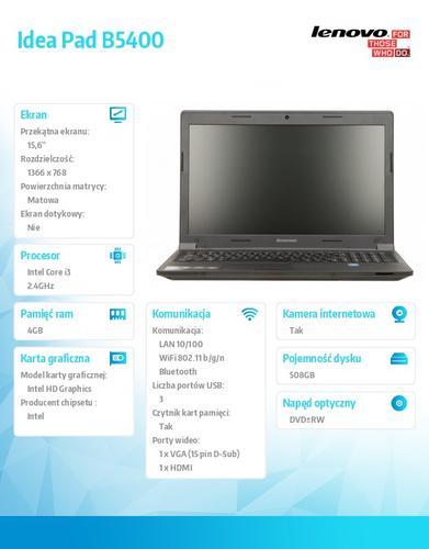 "Lenovo B5400 59-428845 Win7Pro & Win8.1Pro i3-4000M/4GB/500GB SSHD 8GB/Intel HD/DVD Rambo/6c/15.6"" HD AG Black,N-WWAN/1Yr CI"