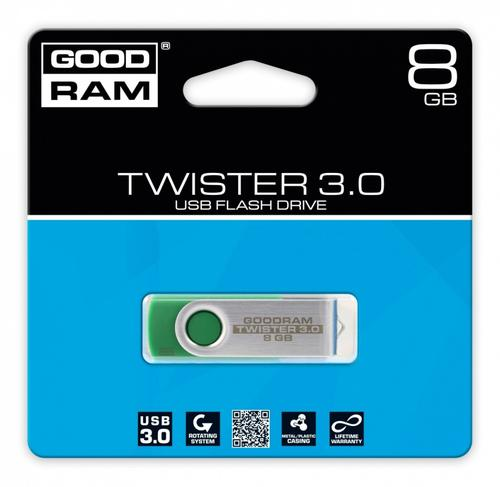 GoodRam TWISTER GREEN 8GB USB3.0