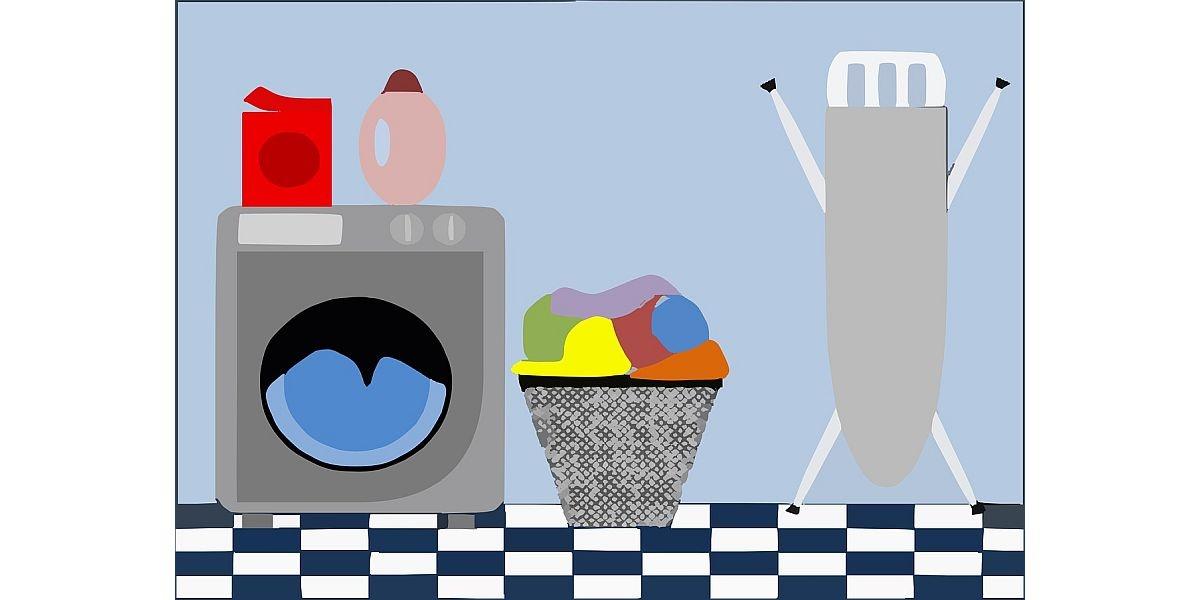 pralka, deska do prasowania i kosz na pranie
