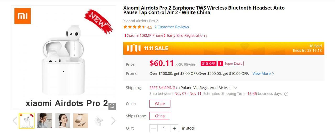 Xiaomi AirDots 2 Pro będą znacznie tańsze niż w Polsce