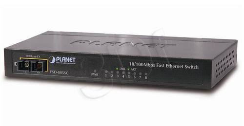 """PLANET / NieZarządzalny / (FSD-805SC) - 8 x 10/100Mbps + 1 x 100Base-FX - 1.6Gbps, 2K, 1Mbit Obudowa Metalowa 10"""""""