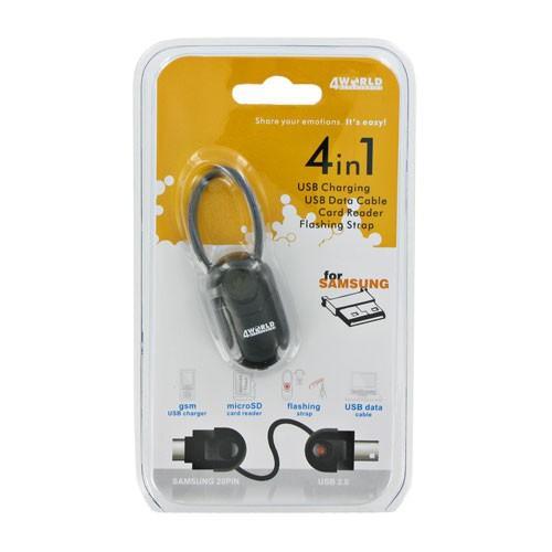 4World Czytnik kart pamięci / kabel transmisyjny / ładowarka Samsung 20pin