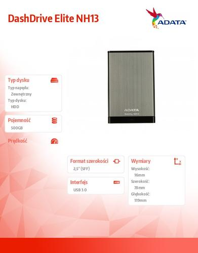 "A-Data DashDrive Elite NH13 500GB 2.5"" USB3.0 czarny"