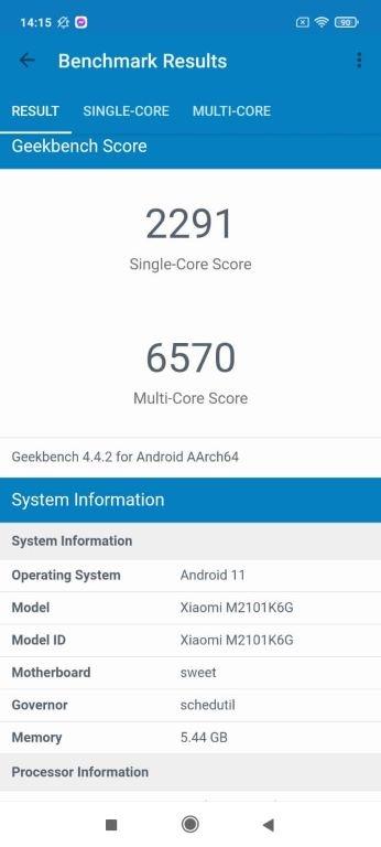 Geekbench 4 dla Redmi Note 10 Pro
