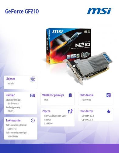 MSI GeForce CUDA GF210 1GB DDR3 PCI-E 64BIT DVI/HDMI/D-SUB BOX