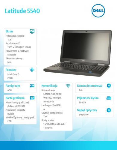 Dell Latitude E5540 Ubuntu i5-4310U/500+8GB SSHD/4GB/GT720/15FHD/6Cell/3YNBD
