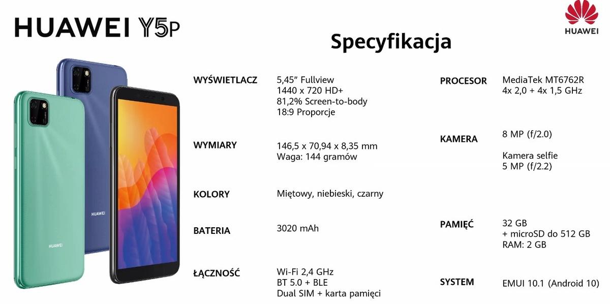 Huawei Y5P oferuje podobną specyfikację, co urządzenia o 100 złotych droższe