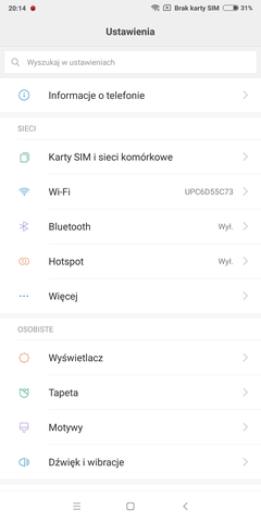 system i nakładka w Xiaomi Mi Mix 2
