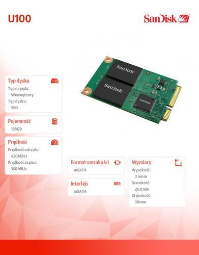 SanDisk SSD mSATA mPCIe MLC 128 GB