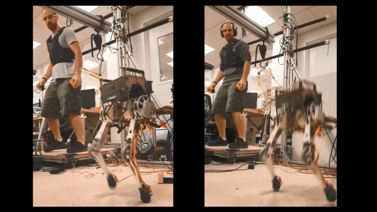 Robot naśladuje ruchy człowieka z niewielkim opóźnieniem (fot. MIT)