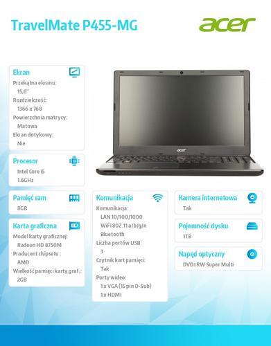 """Acer TravelMate P455-MG i5-4200U/15.6""""/8GB/1TB/AMD Radeon HD 8750M 2GB/DVD SM DL/4c/BT, TPM, Fingerprint reader/W7Pro (W8.1Pro)"""