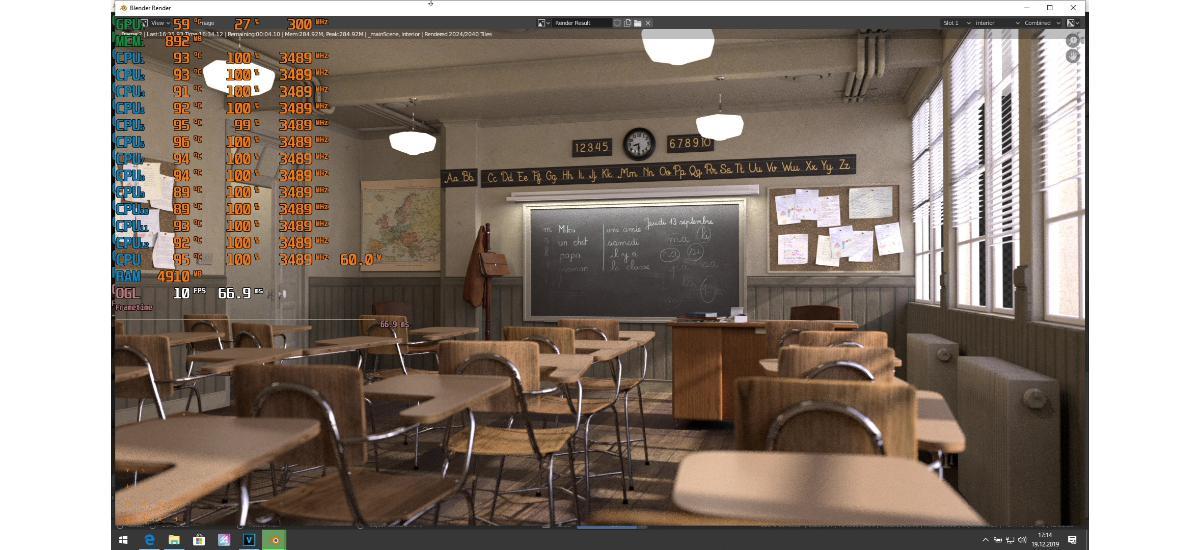 Test MSI P75 Creator - blender classroom