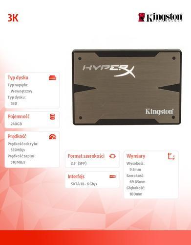 """Kingston HyperX 3K SERIES 240GB SATA3 2,5""""+adapter 3,5"""" 555/510MB/s 9,5mm"""