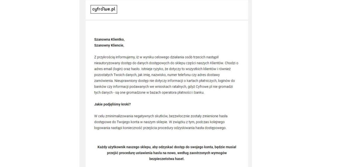 Email z wycieku danych Cyfrowe.pl