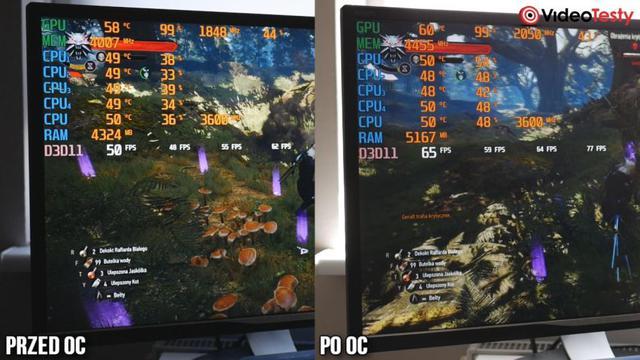 Porównanie FPS przed i po OC